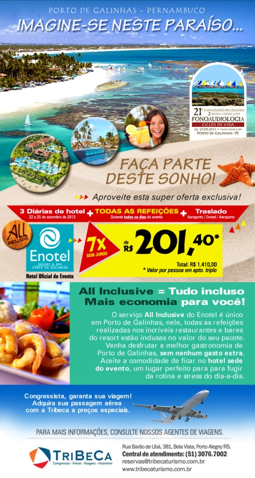 Criação de newsletter para divulgação de pacote de hospedagem durante o 21° Congresso Brasileiro de Fonoaudiologia.